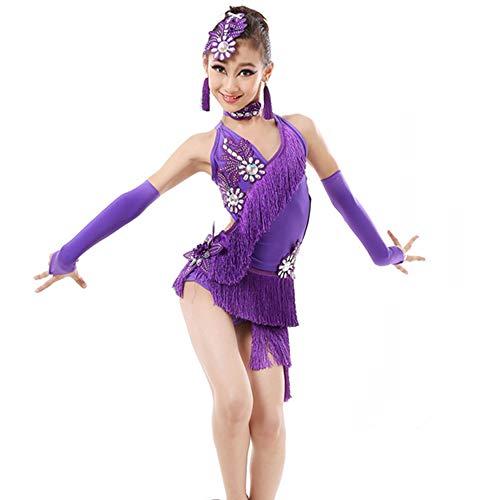 GOWE Mädchen Lyrische Zeitgenössische Gymnastik Tanzkleid - Kinder Pailletten Fringe Performance Wettbewerb Ballsaal Tango Salsa Tanz Kostüme Prom Kleider für Mädchen, Violett/130 (Tanz Wettbewerb Zeitgenössische Kostüm)