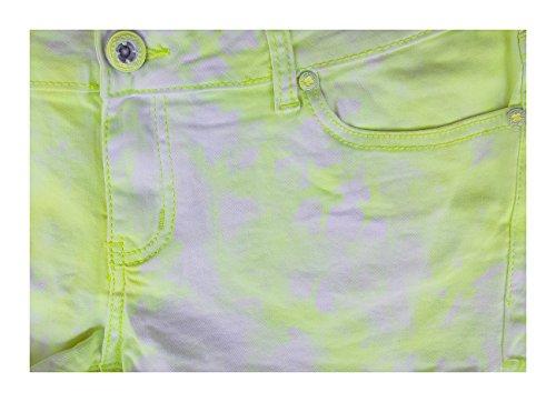 Realty Jeans Damen Batik Neon Hot-Pants Pastell Neon Gelb