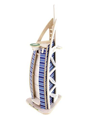 Hölzerne Kreative Spielzeug Zu Hause Dekoration Schmuckhandwerk Gebäudemodell Burj Al Arab, Puzzle 3D-Modell Kit 97 * 89 * 240Mm