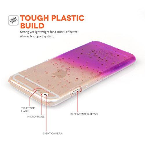 Yousave Accessories iPhone 6 Hülle Blau / Klare Regentropfen Hart Schutzhülle Violet & Clair