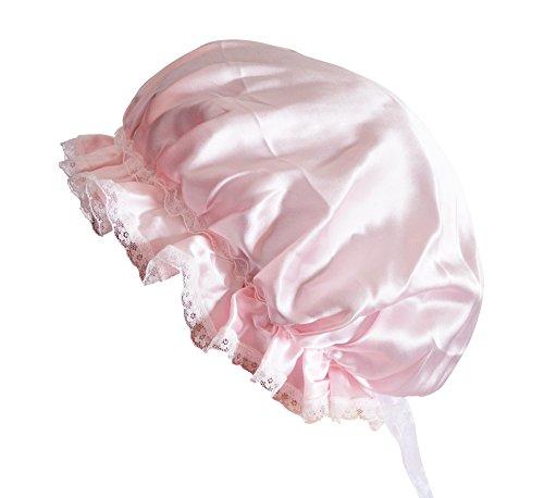MSSilk® Atmungsaktiv Reine Seide Schlaf Gap–Farbenfrohe Schlafmütze für Sleep   Hair Beauty mit Lace Gr. One size, rose