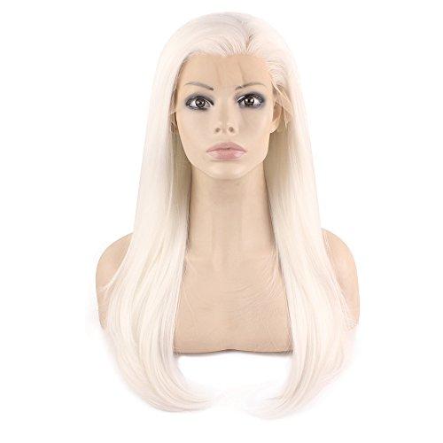 Iwona Cosplay Party Hitzebeständiges Synthetische Faser Synthetikfaser Synthetik Haar Synthetikhaar Lange Gerade Frontseite Spitze Perücke Lace Front Wig silbern weiß blond (Lange Perücke Silberne)