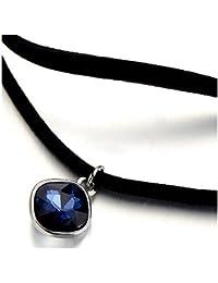 Choker Halsketten Schwarz Halskette für Damen mit Blauen Kristall Anhänger