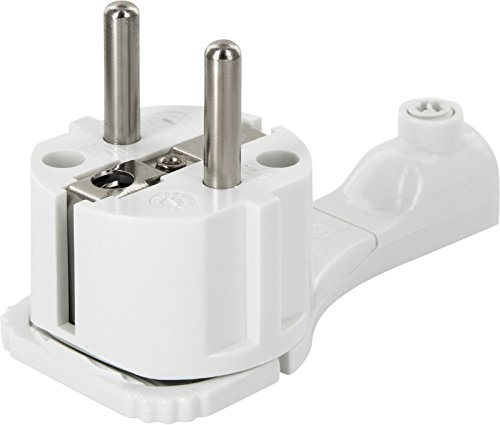 Superslim Contact de protection coudé-Extra plat 8mm-Avec poignée pliable et protection antitorsion-250V 16A-pour câble jusqu'à 3x 1,5mm²-Blanc