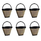 6 Replacements for Cuisinart GTF-4 Gold Tone Coffee Filter Fits 4-Cup Coffee Makers, Washable & Reusable, by Think Crucial