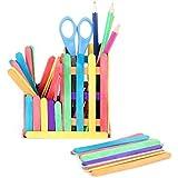 50 x Bois Plat Bâtons de Popsicle Glace Lolly Cream Bar Outil Bricolage (Multicolore)