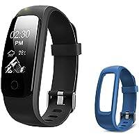 Lintelek Pulsera Actividad Negro+ 1 Correa Azul, Monitor de Ritmo cardíaco, sueño, GPS para Correr, Impermeable IP67, Cronómetro, Bluetooth 4.0