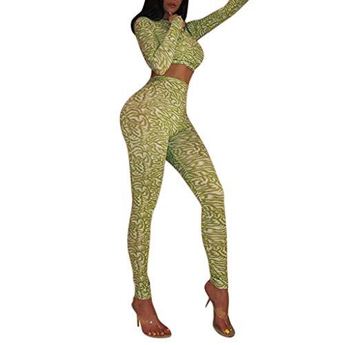 Sexy Suit Donna,Sasstaids❀ Set Stampa Manica Lunga, Stampato a Maniche Lunghe Girocollo Yoga Aderente Sport Set Vestito delle Donne Lady,Curvy Sexy