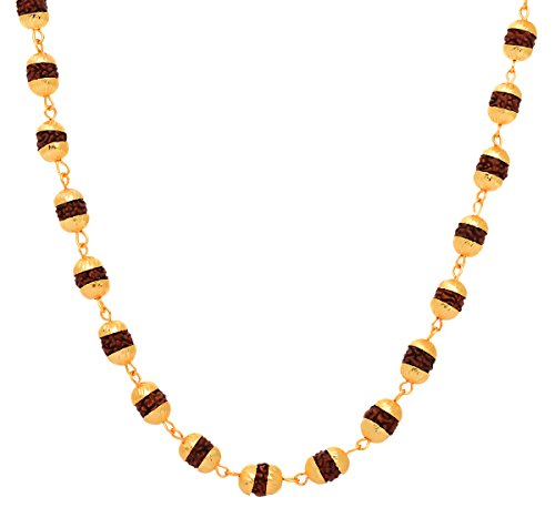 BeBold Religious Gold Brass Rudraksha Mala Medium Plain Link Chain Men and Boys