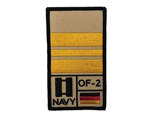 Café Viereck Kapitänleutnant Hauptmann Marine Bundeswehr Rank Patch mit Dienstgrad, Deutschlandflagge, NATO-Rang und US-Rank gestickt mit Klett (Sand) (Nähen Rang)