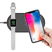 Klearlook 2 in 1 Wireless Charger Compatible with iWatch 4/3/2/1, Slim Portable Dual Charging Pad Compatible with iPhone XS MAX/XR/X/8/8 Plus/Galaxy S9/S9 Plus/Note9/S8 or Other Qi Device - Black