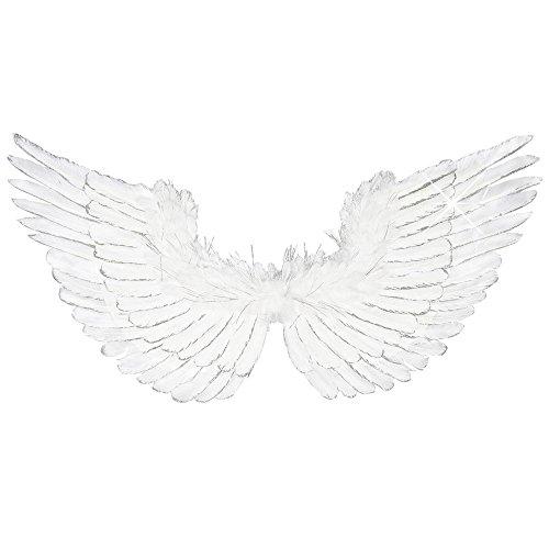 Ali piumate bianche 86x42 cm vera piuma angelo glitterate