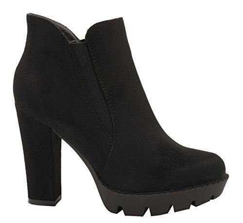Elara Damen Ankle Boots| Plateau Schlupf Stiefelette | Blockabsatz Profilsohle PD03-Schwarz-39