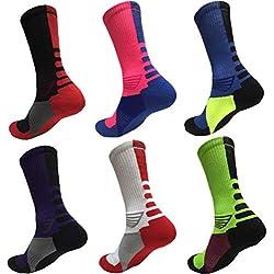 KUGIN Calcetines de compresión, cálidos y cómodos, (6 Pares) Calcetines de compresión para Mujeres y Hombres - Mejor Correr, Deportes competitivos, Crossfit, Viajes de Vuelo