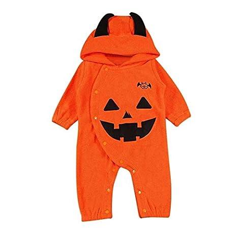 Body Bebe Fille Garcon,Manadlian Bébé garçons filles Halloween citrouille capuche costume rayée (80CM, Jaune)