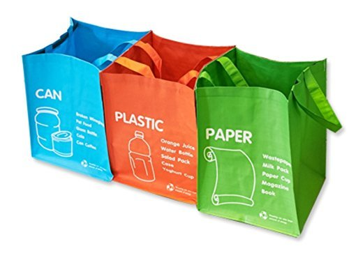 Papelera de reciclaje–impermeable bolsa de reciclaje residuos cestas independientes 3colores Set