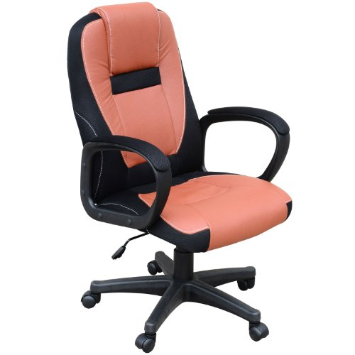 HOMCOM Swivel Executive Computer Office Chair Faux Leather Seat Back Desk Furniture Chairs