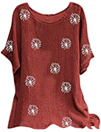 Camisetas Mujer Manga Corta Tallas Grandes Cuello Redondo Casual Tops Verano Moda Flores Impresión Algodón Blusa Camisa Basica Fiesta Camiseta Suelto T-Shirt Original tee