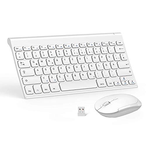 Jelly Comb Kabellose Tastatur und Funkmaus Set, 2.4G Ultraslim Wiederaufladbare Tastatur und USB Maus Kombi für PC/Laptop/Computer/Smart TV, QWERTZ Deutsches Layout, Weiß