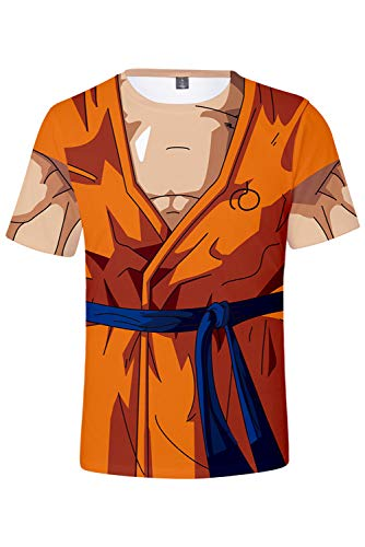 RedJade Herren Damen Anime Cosplay Kostüm 3D Dragon Ball Z Goku Tight gedruckt Kurzarm T-Shirt (Dragon Ball Z T Shirt Kostüm)