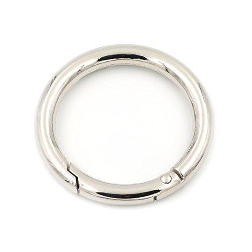 2x Karabinerring mit Federöffnung, O-Ring, rund, Schnappverschluss, Schlüsselanhänger, silber, 38 mm