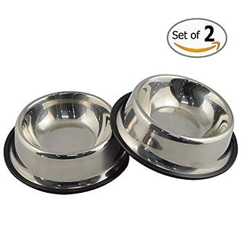 Gamelle MLife en acier inoxydable avec base en caoutchouc pour chiens de petite et moyenne taille, animaux de compagnie, bols de nourriture et de l?eau, choix parfaits (lot de 2)