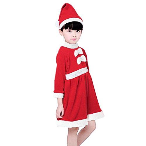 Kinder Weihnachten Santa Claus Fancy Kostüm Kleidung Set für 140 Inch Girls (Masquerade Kostüm Für Die Weihnachtsfeier)