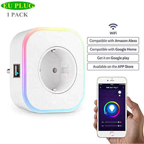 ECOOBUY Spina Smart EU, Mini presa Wi-Fi con porta USB Nightlight Compatibile con Alexa/Google Assistant/IFTTT per Android e iPhone, Nessun hub richiesto (1 Pack)