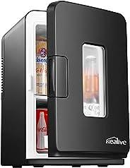 Mini Frigo de Chambre 15L, Mini Réfrigérateur Silencieux 12V/220V avec Fonction Chaud/Froid et Max/Eco, Glaciè
