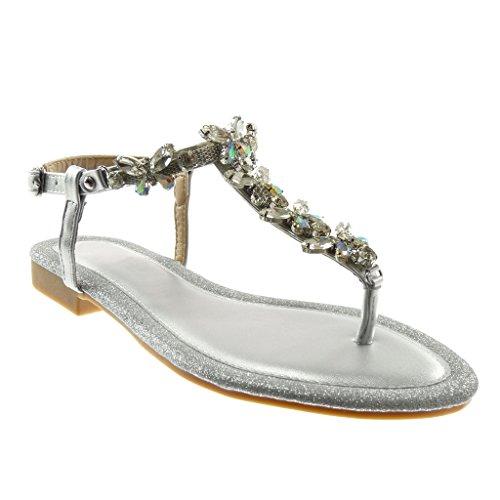 Angkorly scarpe moda sandali infradito con cinturino alla caviglia donna gioielli strass paillette tacco a blocco 1.5 cm - argento rs159 t 38