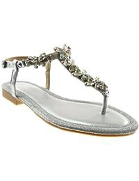 Angkorly Scarpe Moda Sandali Infradito con Cinturino alla Caviglia Donna  Gioielli Strass Paillette Tacco a Blocco bd4a5a3c070