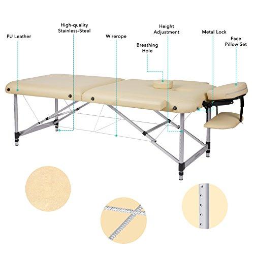 Table de Massage Aluminium Lit Cosmétique Kiné Table de Beauté Professionnel Pliante Ergonomique Canapé Thérapie Haute Qualité Ultra Solide Léger Confort + Housse de Transport