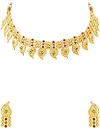Voylla Elegant Yellow Gold Plated Kairi Necklace Set For Women