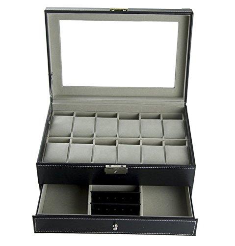 Feibrand PU Reloj Caja Para Relojes/Pulseras (12 Slots)/gemelos