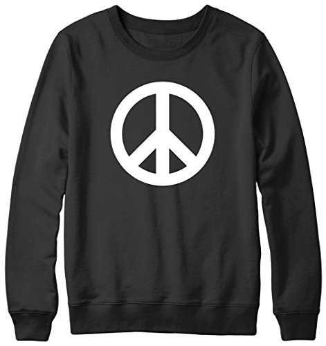 Symbole Peace and Love Inscription Hipster Pull Unisexe Noir - Noir