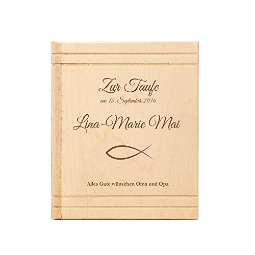 Casa Vivente Spardose Buch aus Holz mit Gravur zur Taufe – Personalisiert mit Namen und Datum – Sparbüchse aus Ahornholz als Taufgeschenk – Sparschwein für Jungen und Mädchen - Parent 4