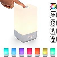 Sailnovo Réveil Lumineux Lampe de Chevet Veilleuse LED RGB Horloge USB Rechargeable 3 Luminosité 7 Couleur Réglable Wake up Light Sunrise Simulation Réveille-Matin Cadeau Anniversaire (Multicolore)