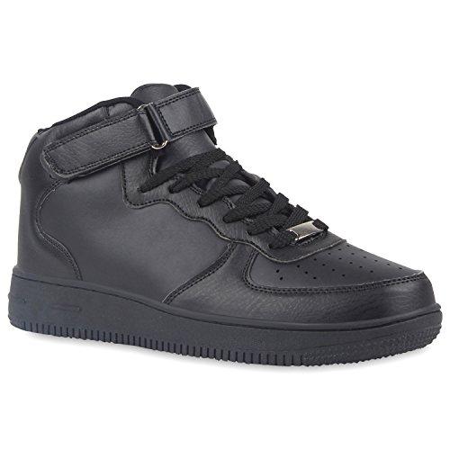 Damen Herren Cultz Basketballschuhe Sportschuhe Sneakers Schwarz Glatt