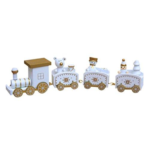 Spielzeugeisenbahn Holz kleiner Zug Weihnachtszug Weihnachten Neujahr Deko Dekoration Ornament für Kinder Mädchen Junge Spielzeug Geschenke Tassenhalter der WeihnachtsZug (Weiß) (Zug Kostüme)