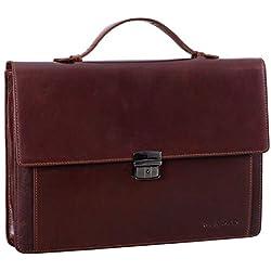 STILORD 'Ernesto' Maletín Portafolio Piel A4 Vintage Bolso de Negocios para Hombre Clásico Bolso de Mano para Portátil de 13,3' Auténtico Cuero, Color:curtición Vegetal marrón Oscuro