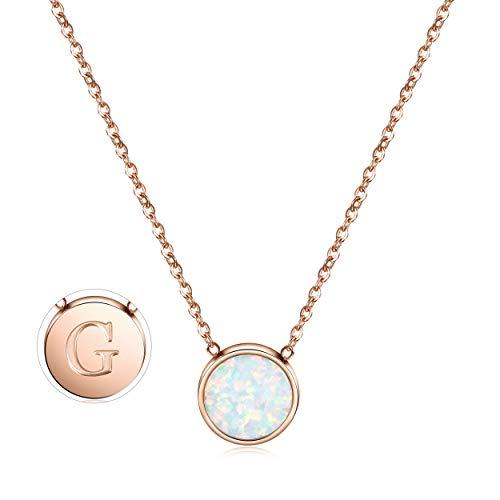 CIUNOFOR Opal Halskette Roségold plattiert Runde Disc Initial Halskette Graviert Buchstabe mit Einstellbarer G Kette für Frauen Mädchen