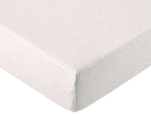 AmazonBasics - Spannbetttuch für Kinderbett, melierter Jersey-Stoff 140g/m², Hellbeige, 2er Pack