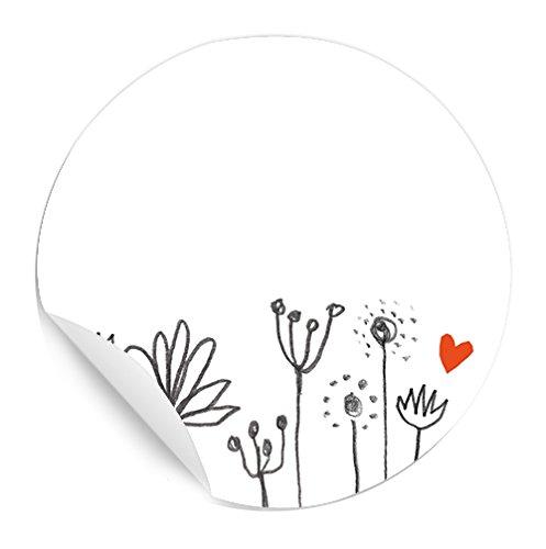 24 Aufkleber, Etiketten selbstklebend zum selbst beschriften, für Hochzeit, Marmelade oder Geschenke, Freitext Rund 4 cm, Blumen Design, florale Zeichnung mit kleinem roten Herz, MATTE Papieraufkleber -