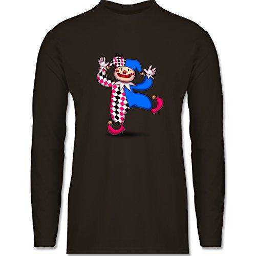 Karneval & Fasching - Tanzender Clown - Longsleeve / langärmeliges T-Shirt für Herren Braun
