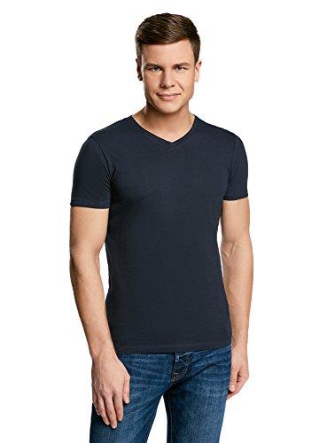 oodji Ultra Herren Tagless T-Shirt Basic mit V-Ausschnitt Blau (7900N)
