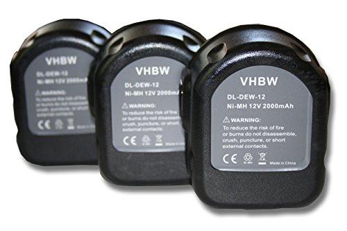 Vhbw 3x Ni-MH batería 2000mAh 12V herramientas DW9074