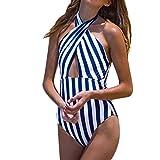 DaySing 2019 Damen Badeanzug Frauen Plus Größe Streifen Verband gepolsterter BH Bikini Jumpsuit Beachwear auf Lager