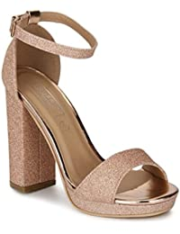 2ecedffddcfd TRUFFLE COLLECTION Rose Gold Glitter Pumpped Ankle Strap Block Heels