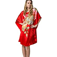 Prettystern - 100% del camisón de satén de seda crepé con kimono pintado a mano