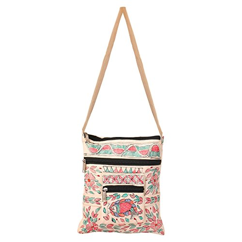 iMithila Handpainted Multicolour Jeans Style Madhubani Sling Bag for Women and Girls